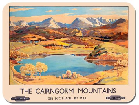 Cairngorm Mountains Vintage Poster Mouse Mat Scotland By Train Railway Mouse Pad